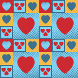 Hearts pattern. Multicolour vintage hearts as a seamless pattern and background Stock Photos