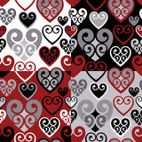 Hearts Pattern. Seamless coiled hearts pattern in four colorways. Tiles repeat 6 inches Stock Photography