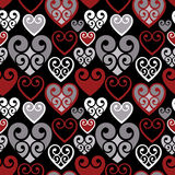 Hearts Pattern_Black Background Stock Image