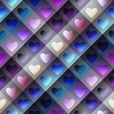 Hearts pattern on geometric background Stock Photography