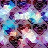 Hearts pattern on geometric background Stock Photo