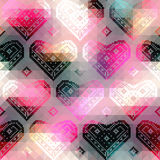 Hearts pattern on geometric background Royalty Free Stock Photos