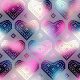 Hearts pattern on pink blur background Stock Photography
