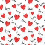Hearts pattern. Romantic seamless background stock illustration