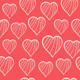 Hearts pattern. Romantic seamless pattern with hand drawn hearts on red background Royalty Free Stock Images