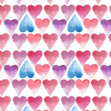Hearts pattern rose and blue watercolor hand sketch. Bright lovely hearts pattern rose and blue watercolor hand sketch Stock Image