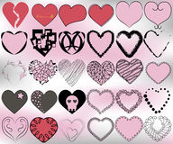 30 hearts pattern set. Of different shapes, styles Stock Images