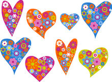 Hearts with patterns. Hearts with lot of patterns and ornaments Royalty Free Stock Photography