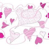 Hearts and patterns. Repeat of hearts, patterns and swirls Royalty Free Stock Photos
