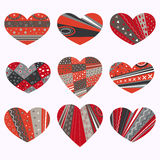 Hearts with patterns. Set angry with different pattern Royalty Free Stock Images