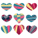 Hearts with patterns Stock Image