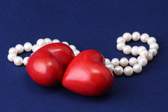 Hearts and pearls Royalty Free Stock Photos