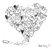 Hearts and pen Royalty Free Stock Images