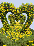 Hearts. A perspective view of heart - shaped decoration of leaves and flowers Stock Image