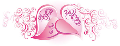 Hearts in pink. Ornate Design with hearts in pink Royalty Free Stock Images