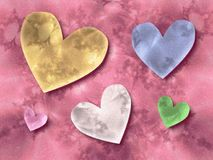 Hearts on Pink Background Stock Image