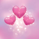 Hearts on a pink background Stock Photos