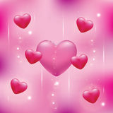 Hearts on a pink background Stock Photography