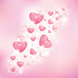 Hearts on a pink background Royalty Free Stock Photos