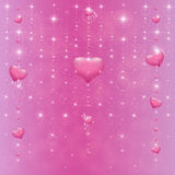 Hearts on a pink background with stars Stock Photo