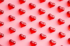 Hearts on pink background. Royalty Free Stock Image