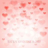 Hearts on pink background. Pink background with transparent hearts and stars, illustration Royalty Free Stock Photos