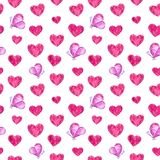 Hearts and pink butterflies seamless pattern, watercolor illustration royalty free illustration