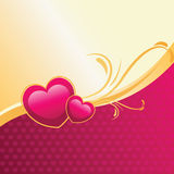 Hearts pink & gold illustration. Valentines day heart background Stock Photo