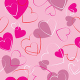 Hearts pink seamless pattern - wrapping paper. Pink  hearts seamless background design Royalty Free Stock Image