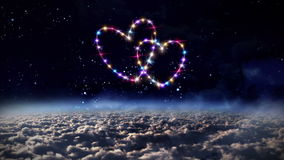 Hearts pink star in outer space. Starry night in space background with heart forming from stars stock video