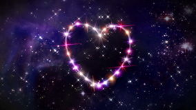 Hearts pink star space camera rotation. Starry night in space background with heart forming from stars stock video