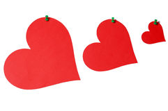Hearts with pins Royalty Free Stock Images