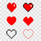 Hearts pixel set. Illustration set 3d 8 bit pixel art isometric cartoon love symbols red heart icon on clear transparent background vector eps 10 stock illustration