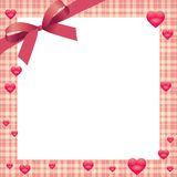 Hearts and Plaid Border Royalty Free Stock Photos