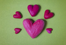 Hearts of plasticine. The colourful and contrast picture on love Stock Image