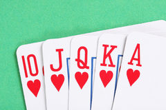 Hearts poker royal flush Stock Images