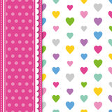 Hearts and polka dot greeting card Stock Photo