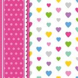 Hearts and polka dot greeting card Stock Photo