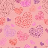 Hearts polygon pattern. Pink background royalty free illustration