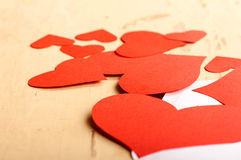 Hearts poured out from the envelope Stock Images