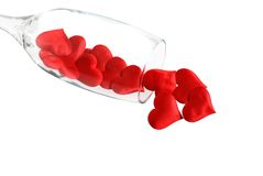 Hearts Pouring From Champagne Glass Royalty Free Stock Image