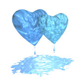 Hearts with puddle. Couple icy hearts with drops on white background Royalty Free Stock Photography