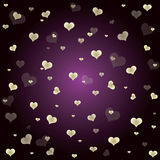 Hearts on purple background. Royalty Free Stock Photography