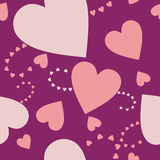Hearts on the purple Stock Photo