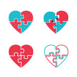 Hearts puzzles icons. Royalty Free Stock Images