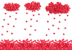 Hearts rain from candy sprinkles, horizontal seamless background Stock Image