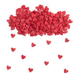 Hearts rain from candy sprinkles Royalty Free Stock Photography