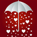 Hearts rain through umbrella Royalty Free Stock Images