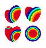 Hearts with rainbow Royalty Free Stock Photography