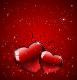 Hearts on red background Royalty Free Stock Image